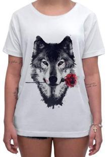 Camiseta Impermanence Estampada Lobo Feminina - Feminino-Branco
