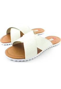 Rasteirinha Quality Shoes 008 Matelassê Verniz Branco - Kanui