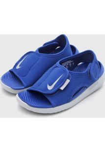 Sandália Nike Infantil Logo Azul/Cinza