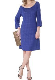 Vestido Energia Fashion Devore Manga 3/4 Azul
