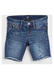 Bermuda Jeans Gap Infantil Destroyed Azul