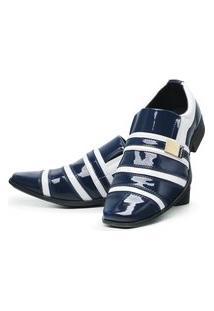 Sapato Social Masculino Verniz Brilhoso Marinho/Branco
