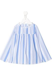Douuod Kids Flower-Embellished Striped Blouse - Azul