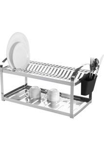 Escorredor De Pratos Em Aço Inox Com Capacidade De 20 Unidades E Su.