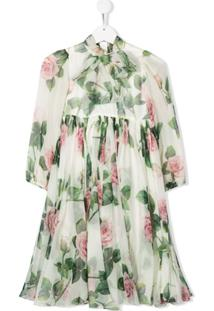 Dolce & Gabbana Kids Vestido Tropical Rose Com Estampa - Branco