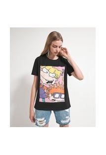 Camiseta Manga Curta Com Estampa Angélica Chuck | Rugrats | Preta | Pp