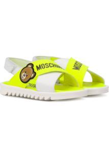 Moschino Kids Sandália Flat Com Estampa De Logo - Branco
