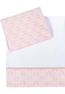 Jogo De Lençol Para Carrinho - Branco & Rosa- 2Pçs Batistela