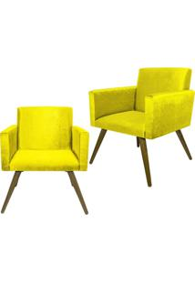 Kit 02 Poltronas Decorativa Pés Palito Nina Suede Amarelo - Ds Móveis