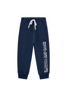 Calça Primeiros Passos Abrange Com Estampa Lateral Azul Marinho Abrange Casual Azul Marinho