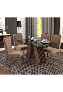 Conjunto De Mesa Com 4 Cadeiras Para Sala De Jantar 130X80 Agata/Nicole-Cimol - Marrocos / Preto / Pluma