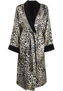 Ermanno Scervino Casaco Com Estampa De Leopardo E Cinto - Branco