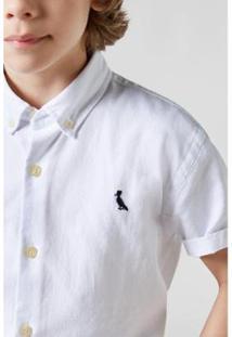 Camisa Masculina Infantil Mini Oxford Mc Reserva Mini - Masculino-Branco