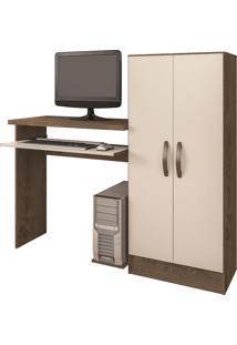 Mesa De Computador C/ Biblioteca Irlanda Mocaccino Rústico Atualle Móveis