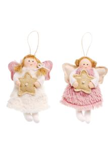 Enfeite Natal Anjo Branco E Rosa Segurando Estrela 16Cm 1 Pç
