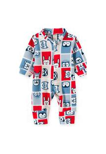 Macacáo Pijama Bebê E Infantil Soft Pingo Lelê Xadrez Bichos