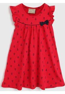 Vestido Milon Infantil Âncora Vermelho