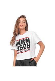Camiseta Cropped Morena Rosa Lettering Branca