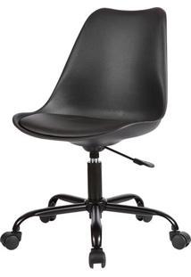 Cadeira Saarinen Com Rodizios Pp Preta Base Aco - 38658 - Sun House