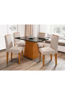 Conjunto De Mesa De Jantar Com Tampo De Vidro Jasmin E 4 Cadeiras Ana Ii Animalle Preto E Creme