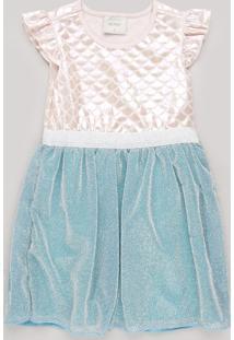 Vestido Infantil Sereia Com Lurex E Babado Na Manga Rosê