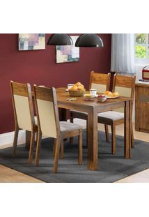 Conjunto De Mesa Com 4 Cadeiras Havana Suede Rustic E Pérola