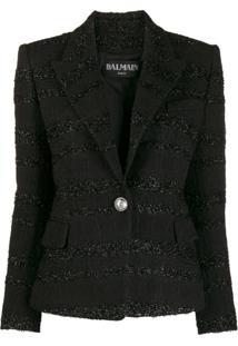 Balmain Blazer Slim Em Tweed Bouclé - Preto