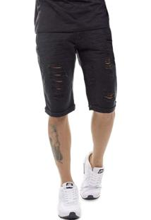 Bermuda Offert Jeans Premium Destroyed Slim Fit Preta
