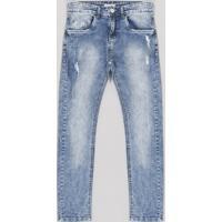 40faaf4ca Calça Jeans Infantil Skinny Com Puídos E Bolsos Azul Médio