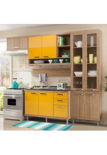 Cozinha Compacta Sem Tampo 9 Portas 5816 Argila/Amarelo - Multimóveis