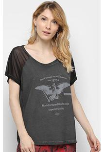 Camiseta Triton Manga Curta Tule Estampada Feminina - Feminino-Preto