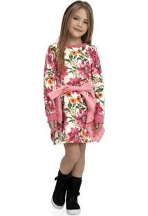 Vestido Infantil Manga Longa Bege