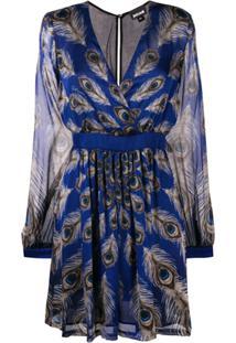 Just Cavalli Mini Vestido Com Decote V - Azul