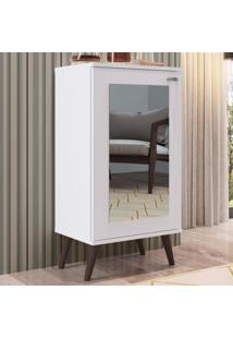 Estante Para Livros 1 Porta Com Espelho 3 Prateleiras Est120 Branco - Completa Móveis