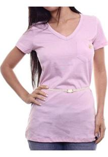 Camiseta Alma De Praia Maxi V C/ Cinto Feminina - Feminino-Rosa