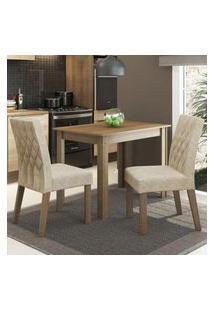 Conjunto Sala De Jantar Madesa Vivi Mesa Tampo De Madeira Com 2 Cadeiras Rustic/Imperial