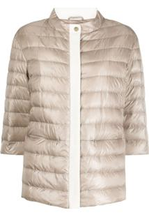 Herno Funnel-Neck Quilted-Down Jacket - Neutro