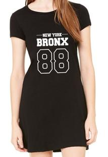 Vestido Criativa Urbana Estampado Bronx - Feminino-Preto