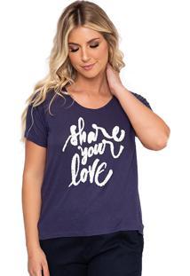 Camiseta Simone Saga Share Your Love Bordado Azul