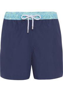 Bermuda Masculina Elástico Estampado - Azul