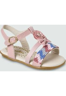 Sandália Para Menina Cinza Rosa infantil  948fa7ae45b65