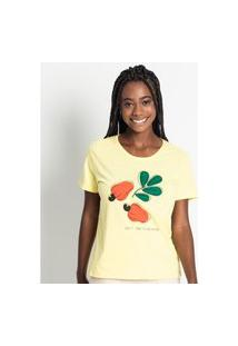 T- Shirt Feminina Estampada Rovitex Amarelo