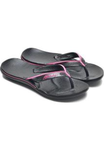 Chinelo Poliuretano Alcalay Solado Anatômico Leve Confort - Feminino-Preto+Pink