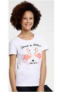 Blusa Juvenil Estampa Flamingo Glitter Manga Curta Marisa