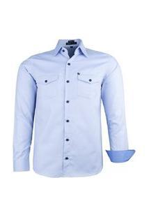 Camisa Amil Cosmo Militar Manga Longa Azul Bebe