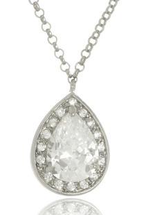 Colar Le Diamond Gota Cristal E Zircônias Prata