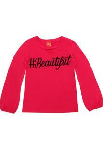 Camiseta Kyly Menina Estampado Vermelha
