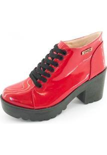 Bota Quality Shoes Tratorada Verniz Feminina - Feminino-Vermelho+Preto