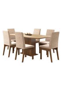 Sala De Jantar Madesa Cecília Mesa Tampo De Madeira Com 6 Cadeiras Bege