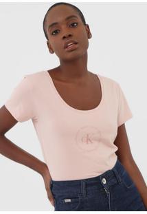Camiseta Calvin Klein Jeans Logo Rosa - Kanui